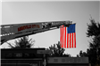 Fire equipment ladder with American flag