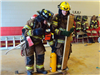 Training with board and extinguisher