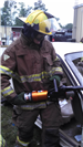 Training with car wreck and equipment