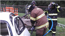 Training with wrecked car and jaws of life
