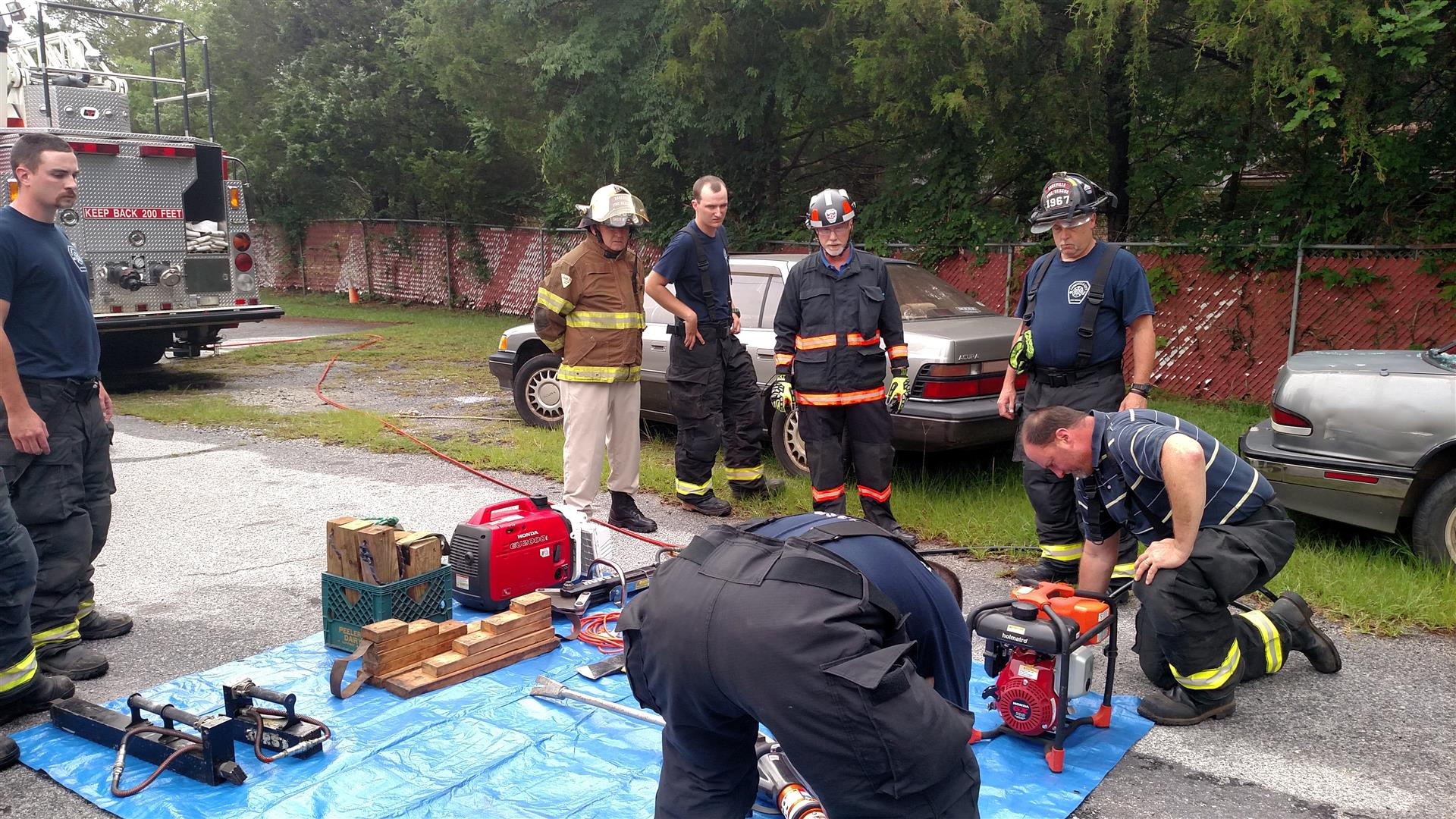 Training with car wreck and tools