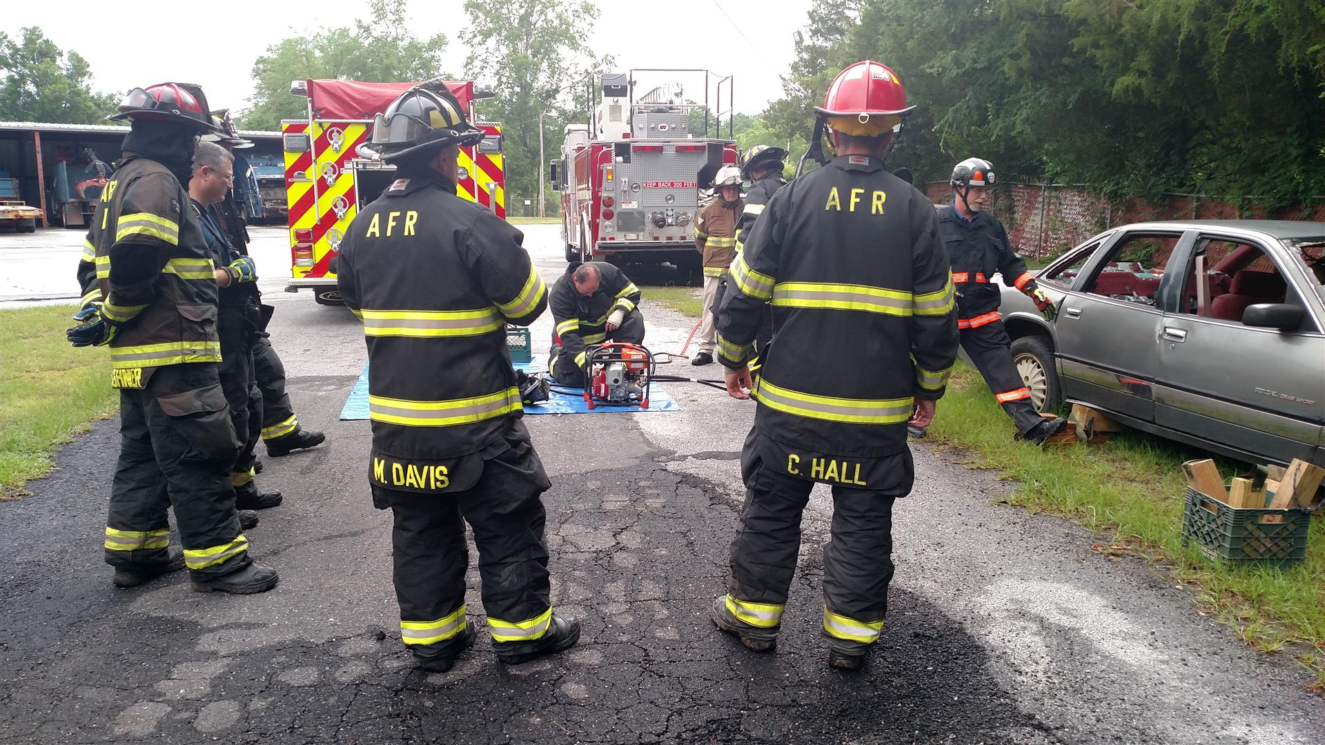 Training with car wreck equipment