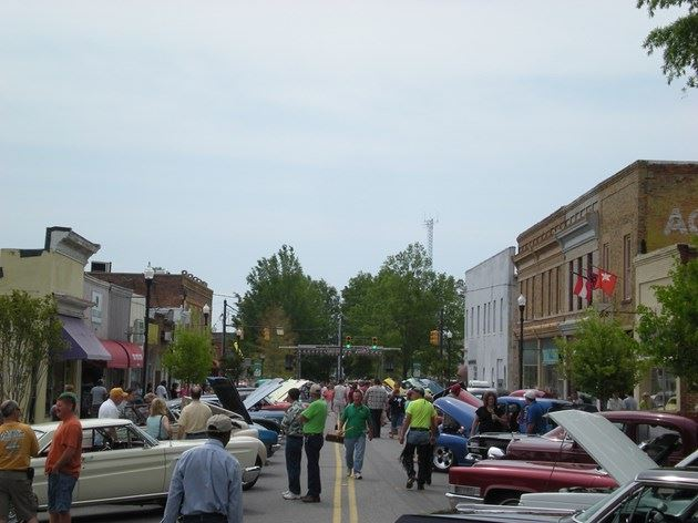 Crowds attend the car show